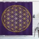 """Ambesonne Abstract Shower Curtain, Geometric Curved Rounds Shape Overlapping Circles Image, Cloth Fabric Bathroom Decor Set with Hooks, 84"""" Long Extra, Yellow Purple"""