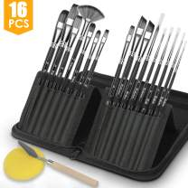VIKEWE Professional Paint Brushes Set - 16 PCS Paint Brush with Oil Painting Knife and Sponge, Suitable for Acrylic, Watercolor, Oil and Gouache Painting, Perfect Paint Brush for Artist Kids