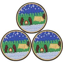 U-Sky Cute Iron on Patches for Backpacks, 3pcs Outdoor Camping Bears Adventure Embroidered Sew on/Iron-on Clothes Patch for Park Forest Ranger Jackets, Biker Vest, Jeans, Bags, Size: 2.83x2.83 inch