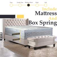Nutan 11-Inch Medium plush Foam Encased Eurotop Pillowtop Innerspring Fully Assembled Mattress And 8-Inch Wood Box Spring/Foundation Set, Good For The Back,Twin XL