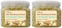 Clear Air Odor Eliminator Gel Beads - Air Freshener - Eliminates Odors in Bathrooms, Cars, Boats, RVs and Pet Areas - Made with Natural Essential Oils - Sun-Kissed Beach Scent - 2 Pack (2 x 12 OZ)
