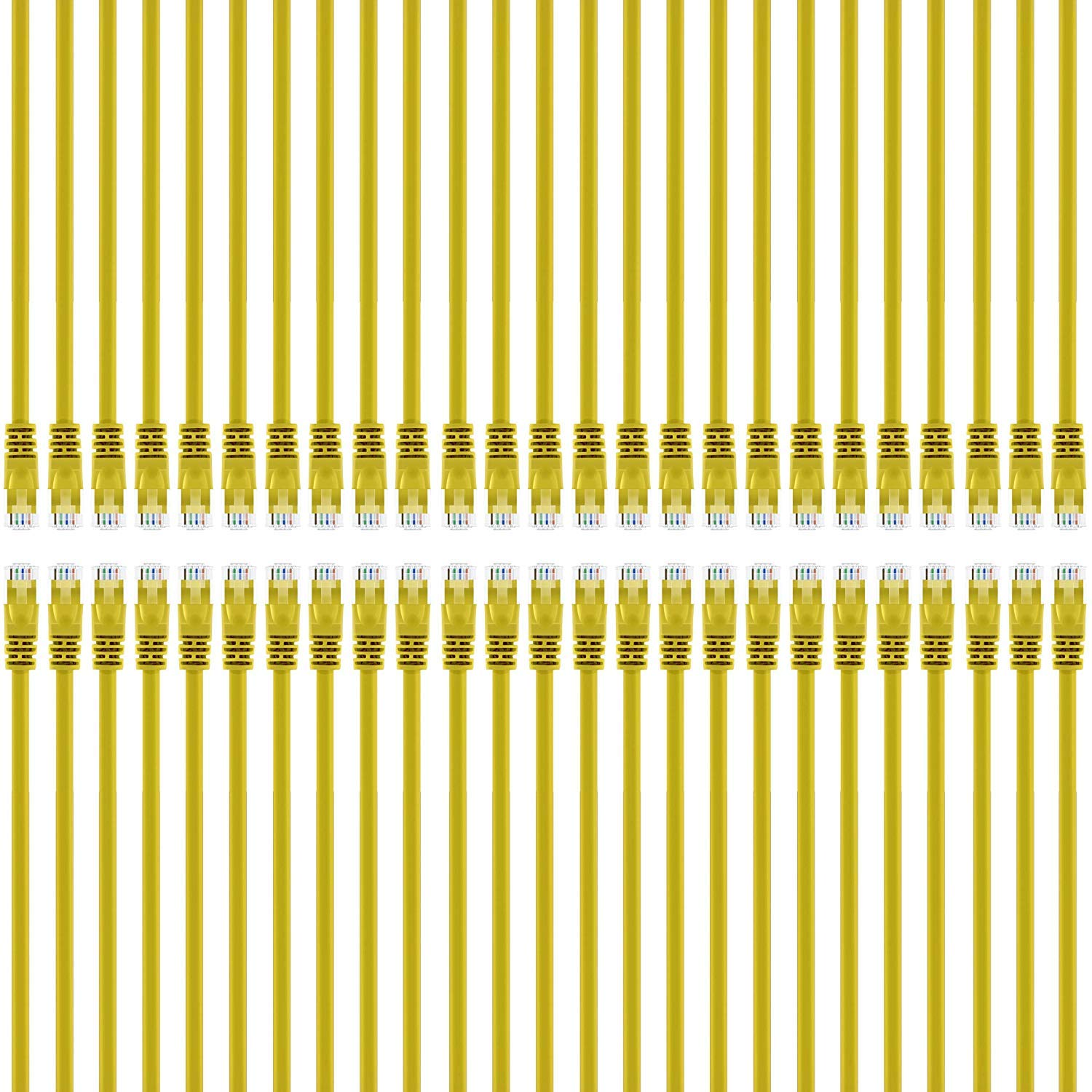 GearIT 50-Pack, Cat5e Ethernet Patch Cable 1 Foot - Snagless RJ45 Computer LAN Network Cord, Yellow - Compatible with 48 Port Switch POE Rackmount 48port Gigabit