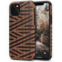 Tasikar Compatible with iPhone 11 Pro Max Case Easy Grip Wood Grain Design Compatible with iPhone 11 Pro Max (Leather & Wood)