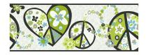 York Wallcoverings PW3916B Girl Power 2 Peace Sign Border, White Background/Black Band/Green