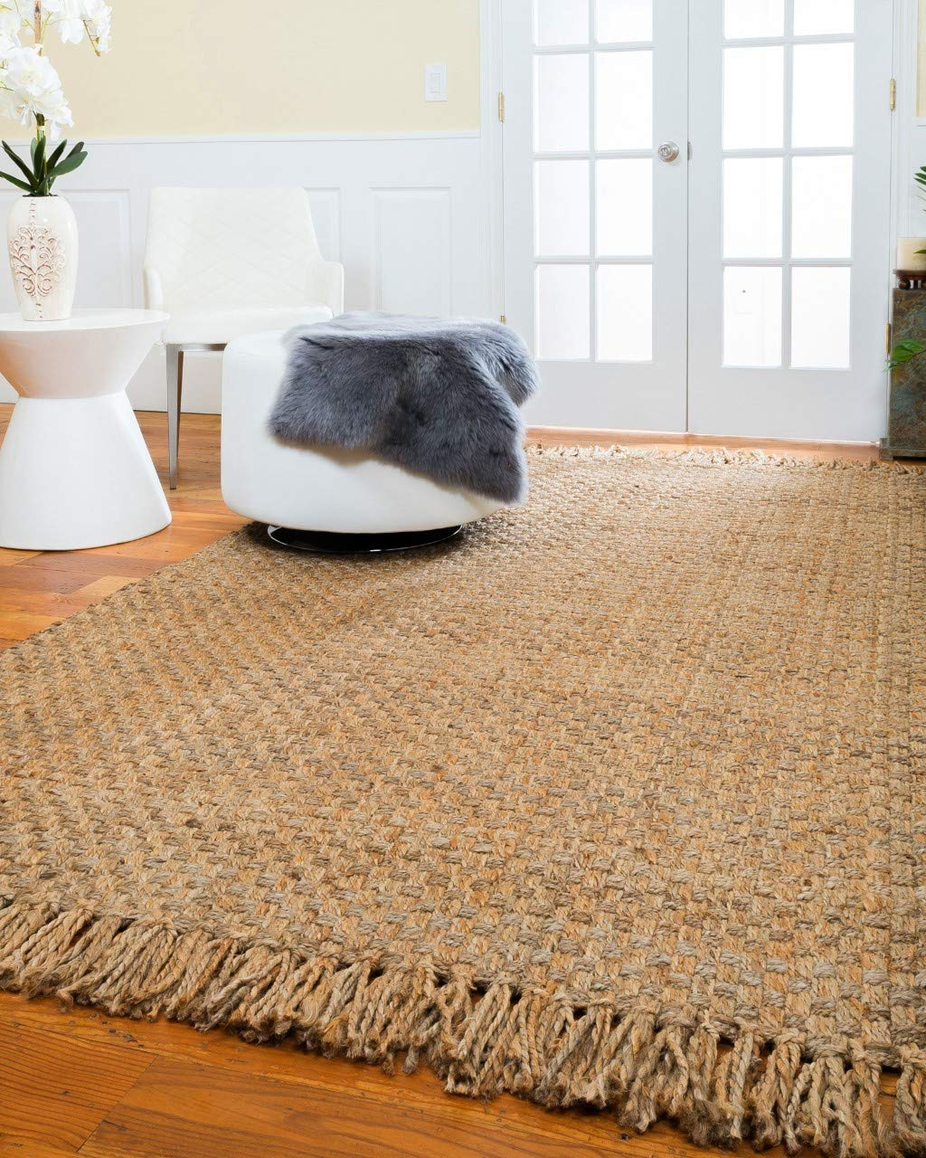 Natural Area Rugs Natural Fiber, Handmade Reversible Basketweave Chatsworth Jute Rug (6' x 9') Beige