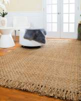 Natural Area Rugs Natural Fiber, Handmade Reversible Basketweave Chatsworth Jute Rug (8' x 10') Beige