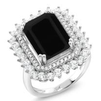 Gem Stone King 925 Sterling Silver Black Onyx Women's Ring 5.60 Ct Emerald Cut Gemstone Birthstone Available in (Available 5,6,7,8,9)