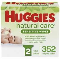 HUGGIES Natural Care Baby Wipes, 2 Packs, 352 Total Wipes