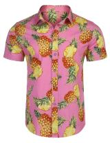 JINIDU Men's Tropical Pineapple Print Button Down Long Sleeve Casual Hawaiian Shirt