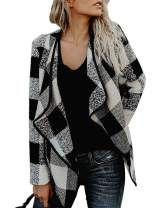 Womens Plaid Draped Open Front Cardigan Shawl Collar Long Sleeve Casual Jackets Outwear