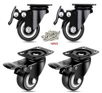 """ENJUCOM 2"""" Swivel Caster Wheels with Safety Dual Locking Heavy Duty 600Lbs Set of 4 with Brake,150 LBS Per Caster,16 x Stainless Steel Tapping Screws"""