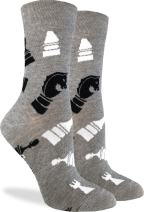 Good Luck Sock Women's Chess Socks - Grey, Adult Shoe Size 5-9