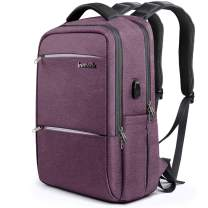 Inateck Laptop Backpack with USB Charging Port, Anti-Theft School Bag Business Travel Backpack Fits Up to 15.6 Inch Laptops, Rucksack with Waterproof Rain Cover and Luggage Belt - Purple
