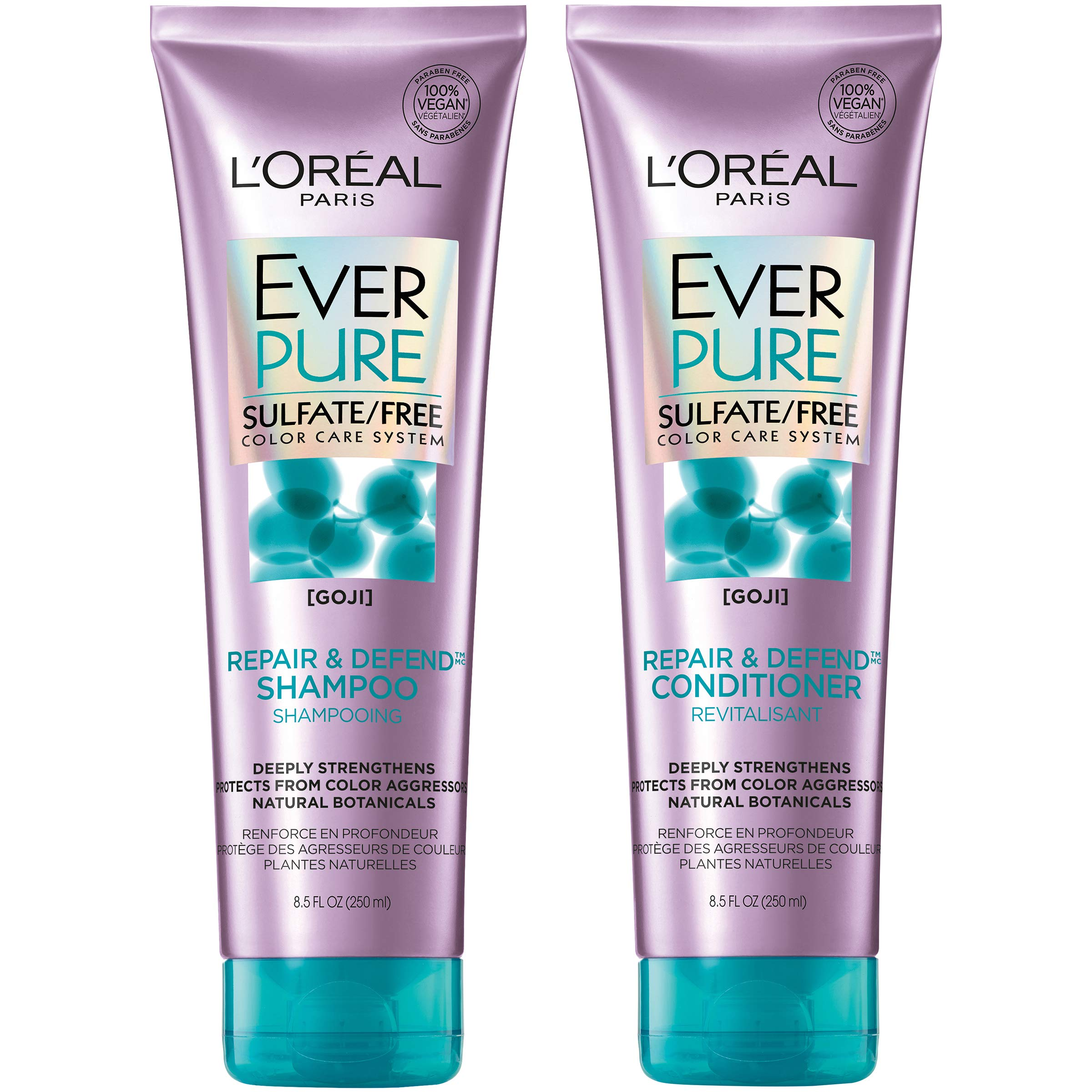 L'Oréal Paris Hair Care EverPure Repair & Defend Sulfate Free Shampoo & Conditioner Kit for Color-Treated Hair, Strengthens + Repairs, For Damaged Hair with Goji (8.5 Fl. Oz each)