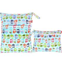 Damero 2pcs Travel Wet and Dry Bag, Reusable Wet Bags Organizer with Two Zippered Pocket for Cloth Diaper, Pumping Parts, Swimsuit and Gym, Cute Owl