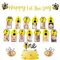 JeVenis Set of 3 Happy 1st Bee Day Decoration Bumble Bee Monthly Photo Banner Bee First Year Photo Banner Bee One Cake Topper Bee First Birthday Photo Banner for First Birthday Decoration