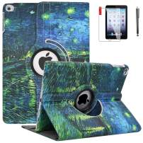 NEWQIANG iPad 9.7 inch 2018 2017 Air1 Case with Screen Protector and Stylus - iPad 5th 6th Generation Case - 360 Degree Rotating Stand, Auto Sleep Wake, Shockproof - A1822 A1823 A1474 A1475(Rhône)