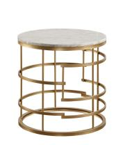 """Homelegance Brassica 24"""" Round Faux Marble End Table, Gold"""
