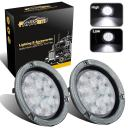 """Partsam 2Pcs 4 Inch Round Led Trailer Lights White 10 Diodes with Reflex Flange, 4"""" Round White Trailer Tail Lights Reverse Back Up Trailer Lights for RV Trucks, 4 Inch Round Led Backup Lights"""