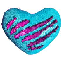 """Play Tailor Mermaid Throw Pillow with Insert Reversible Sequins Pillow Heart Shape Decorative Cushion(13"""" x 15"""", Teal-Fushia)"""