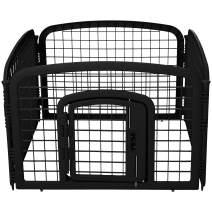 AmazonBasics 4-Panel Plastic Pet Pen Fence Enclosure With Gate