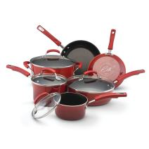 Rachael Ray 11535 Brights Nonstick Cookware Set / Pots and Pans Set - 10 Piece, Red