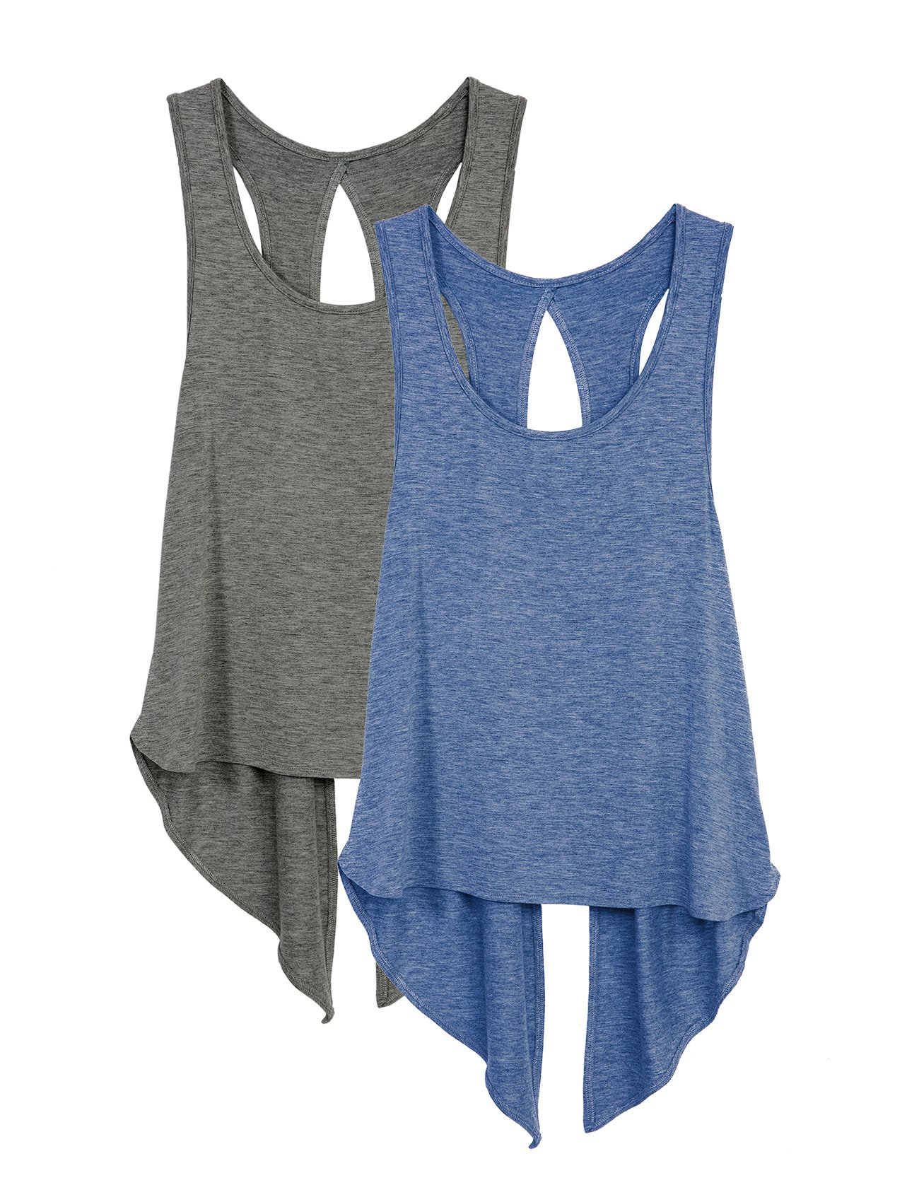 icyzone Sexy Yoga Tops Workout Clothes Racerback Tank Top for Sport Women(Pack of 2)