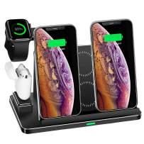 Zapuno Wireless Charging Station,8 in 1 Aluminum Alloy CNC Wireless Charger Stand 20W Wireless Fast Charger Dock with 45W PD Charger Compatible for iPhone/iPad/Apple Watch/Airpods and More
