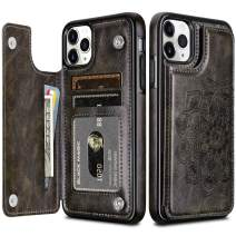 HianDier Wallet Case for iPhone 11 Pro Case Slim Protective Case with Credit Card Slot Holder Flip Folio Soft PU Leather Magnetic Closure Cover for 2019 iPhone 11 Pro 5.8 Inches, Mandala Dark Gray