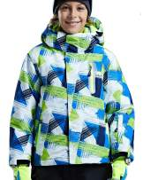 FARVALUE Boy's Hooded Ski Jacket Waterproof Thick Winter Print Coat with Reflective Stripe for Skiing Skating Hiking