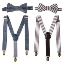 Ava & Kings Kids 4pc Bowtie & Suspender Matching Set | Y-Back Clip On Adjustable Braces for Boys & Toddlers