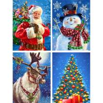 """Ginfonr 4 Pack 5D Diamond Painting Christmas Santa Snowman Reindeer Xmas Tree Full Drill Paint with Diamonds Art, DIY Embroidery Rhinestone by Number Kits for Adults Cross Stitch Wall Decor 12""""x16"""""""