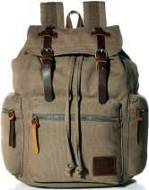 Vintage Canvas Backpack, HuaChen Mens Travel Rucksack for Laptop Hiking School Bookbag