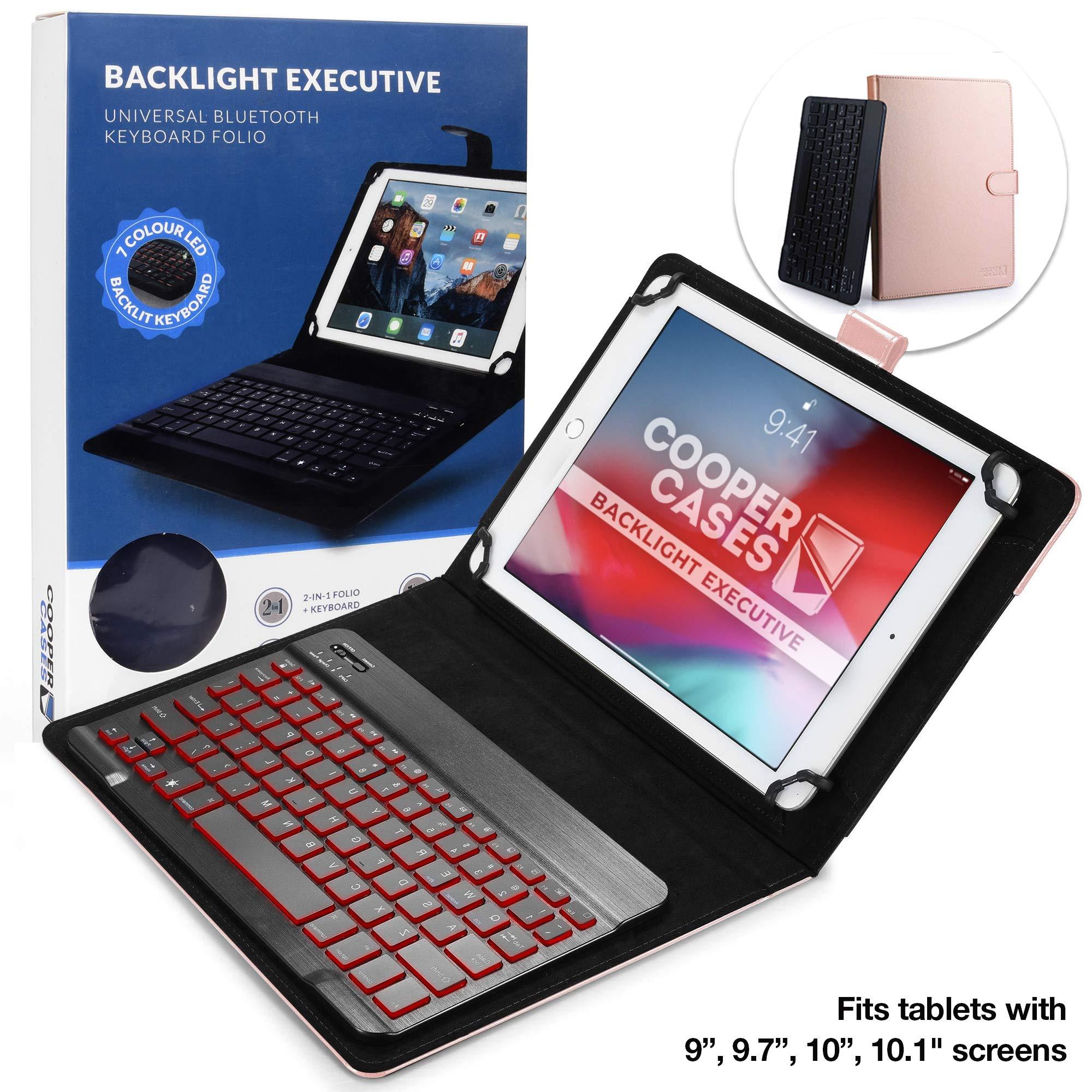 Cooper Backlight Executive Keyboard Case for 9'', 10'', 10.1'' inch Tablets   2-in-1 Bluetooth Wireless Backlit Keyboard, 7 Color Keys (Rose Gold)