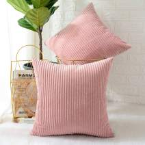 MERNETTE Pack of 2, Corduroy Soft Decorative Square Throw Pillow Cover Cushion Covers Pillowcase, Home Decor Decorations for Sofa Couch Bed Chair 16x16 Inch/40x40 cm (Striped Peach Pink)
