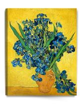 DECORARTS - Irises Vase Flower, Vincent Van Gogh Reproductions. Giclee Canvas Print Wall Art for Home Wall Decor. 30x24x1.5