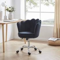 BELLEZE Kaylee Office Chair Upholstered Velvet Seashell Swivel Desk Chair Task Chair Height Adjustable, Black