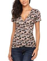 Beyove Womens Ruched Blouse Summer Short Sleeve Sexy V Neck Tops