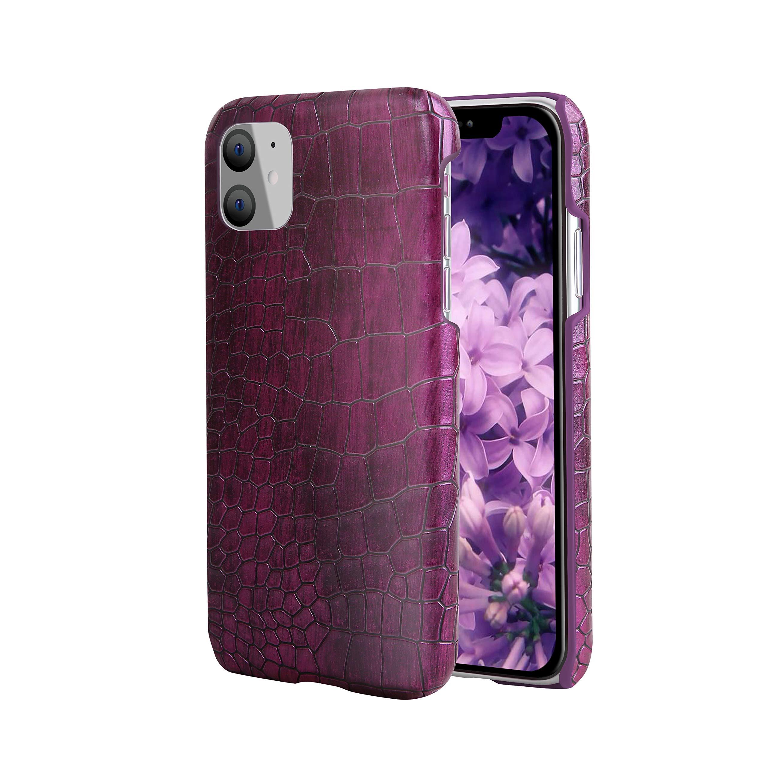 iPhone 11 Pro Max Case, Premium Genuine Leather Case, Stylish Crocodile Pattern Anti-Slip Hard Shell Phone Protective Cover Compatible with iPhone 11 6.2 inch [2019] [Crocodile Purple]