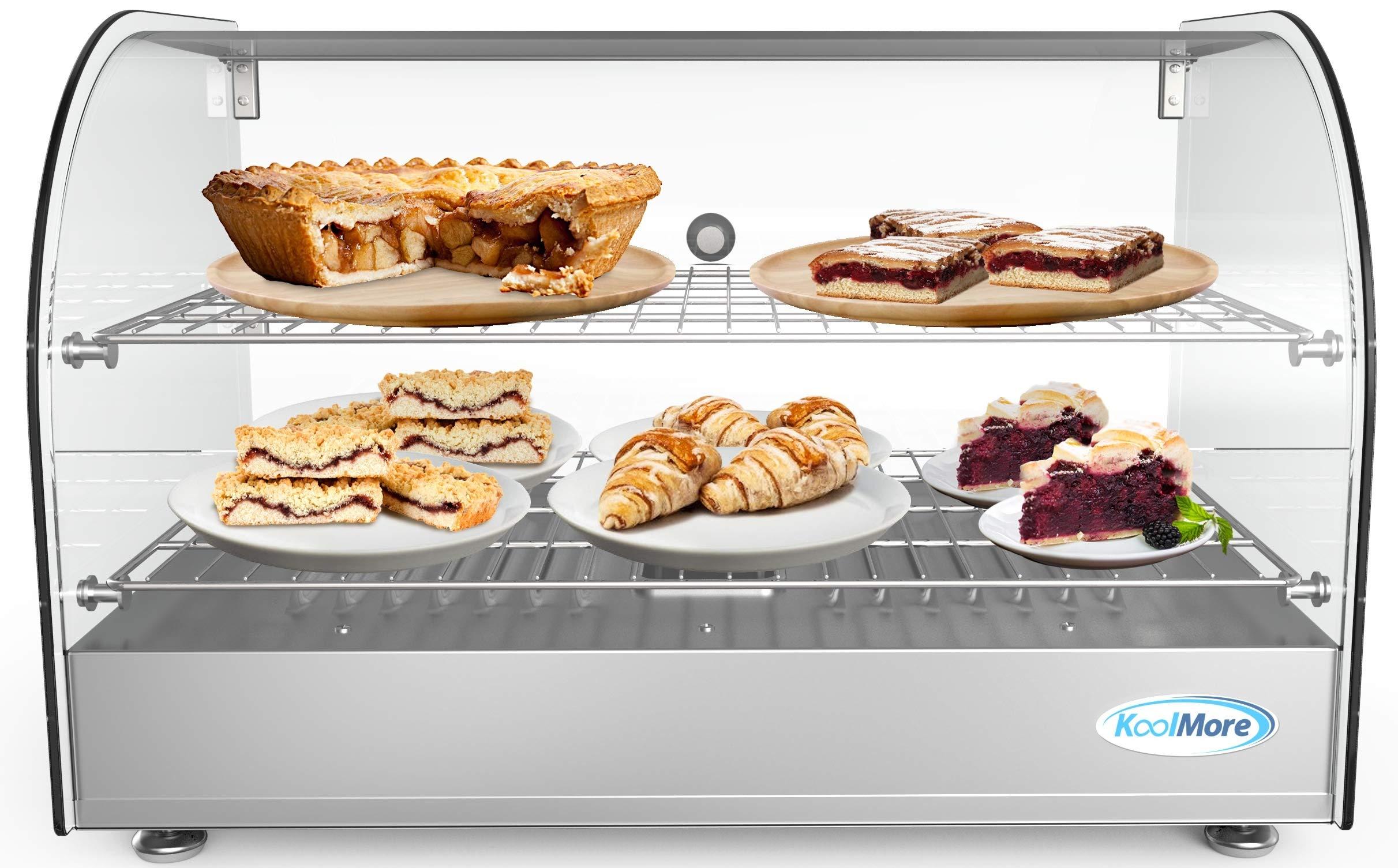 "KoolMore 22"" Commercial 2 Shelf Countertop Food Warmer Display Case - 1.5. cu ft, Silver, Model:HDC-1.5C"