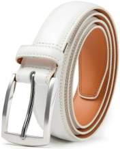 Mark Fred Men's Genuine Leather Dress Belt, Handmade, 100% Cow Leather