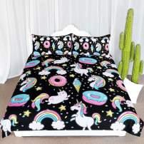 ARIGHTEX Chubby Unicorn Bedding Kids Girls Cute Unicorn in Rainbow Sprinkles Donut Pattern Duvet Cover 3 Piece College Dorm Sweet Bed Sets (Full)