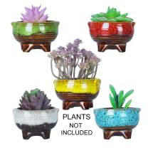 ARTKETTY 4 Inch Ceramic Succulent Plant Pots Mini Cactus Planter Pots Tripod Glazed Flower Pots with Drainage Tiny Plant Containers Perfect for Desk or windowsill Pack of 5