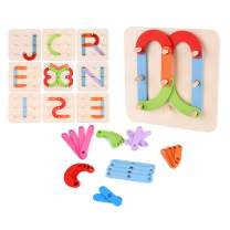 JCREN Wooden Letters Numbers Construction Puzzle for Toddlers Educational Stacking Blocks Toy Set Shape Color Sorter Pegboard Activity Board Sort Game Educational Letter Board for Kids Boys & Girls