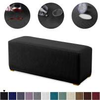 Granbest Premium Water Repellent Ottoman Cover High Stretch Rectangle Folding Storage Stool Ottoman Slipcovers (Ottoman Standard, Black)