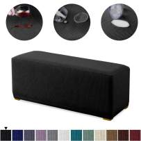 Granbest Premium Water Repellent Ottoman Cover High Stretch Rectangle Folding Storage Stool Ottoman Slipcovers (Ottoman Standard, Black)