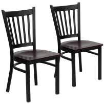 Flash Furniture 2 Pk. HERCULES Series Black Vertical Back Metal Restaurant Chair - Mahogany Wood Seat