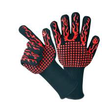 BBQ Grill Gloves MILCEA 1472°F Extreme Heat Resistant Non-Slip Oven Gloves, with Cut Resistant, Durable Fireproof Kitchen Oven Mitts Universal Size for Barbecue, Baking, Frying, Welding, Cutting