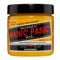 Manic Panic Sunshine Yellow Hair Dye – Classic High Voltage - Semi Permanent Hair Color - Warm, Orange Tinted, Sunflower Yellow Hair Color, Vegan, PPD & Ammonia-Free - For Coloring Hair on Women & Men