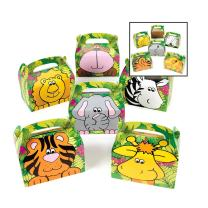 Adorox (12 Boxes Jungle Safari Zoo Animal Cardboard Favor Treat Boxes Birthday Party Goody Bags Lion Tiger Elephant Zebra Hippo Giraffe